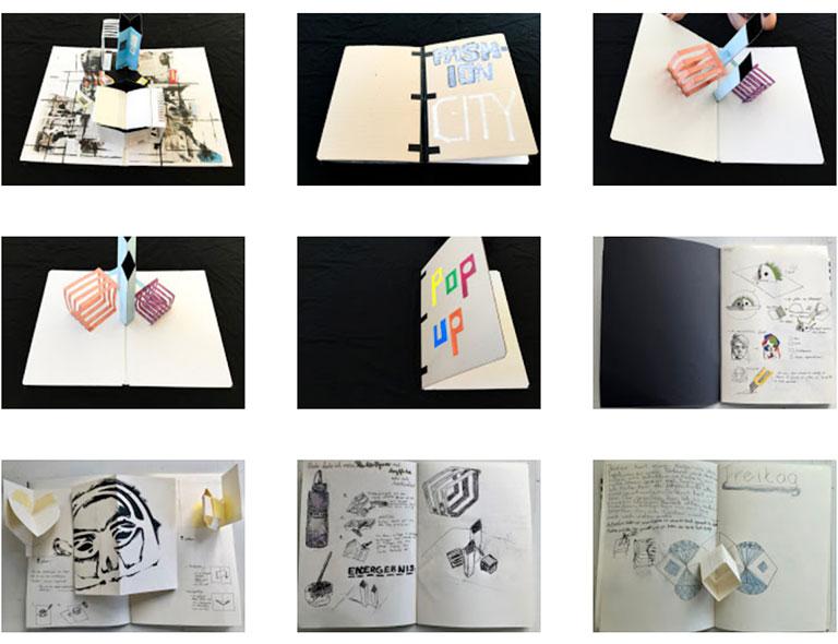 Werkstatt Pop-up-Buch Arbeitsergebnisse